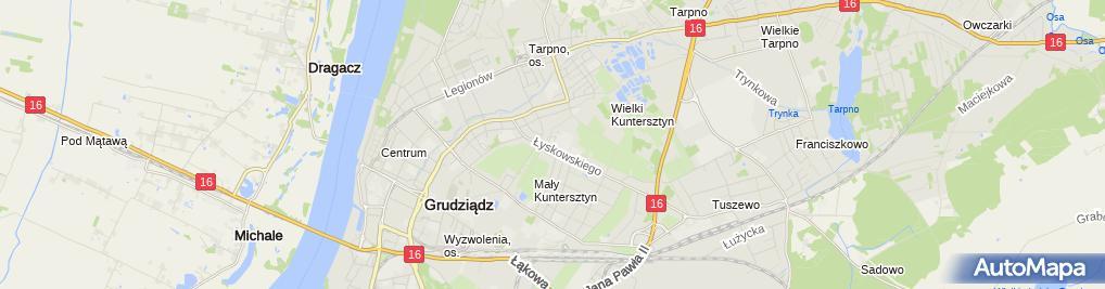 Zdjęcie satelitarne Grudziadz kosciol sw Mikolaja