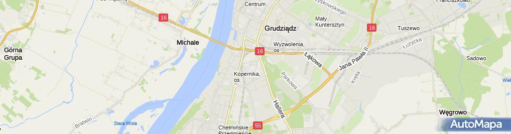 Zdjęcie satelitarne Grudziadz zegar planetarium