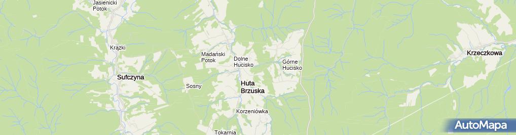 Zdjęcie satelitarne Huta Brzuska - nowa droga z Łazów