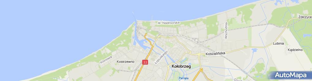 Zdjęcie satelitarne Kołobrzeg - linia kolejowa nr 402 most