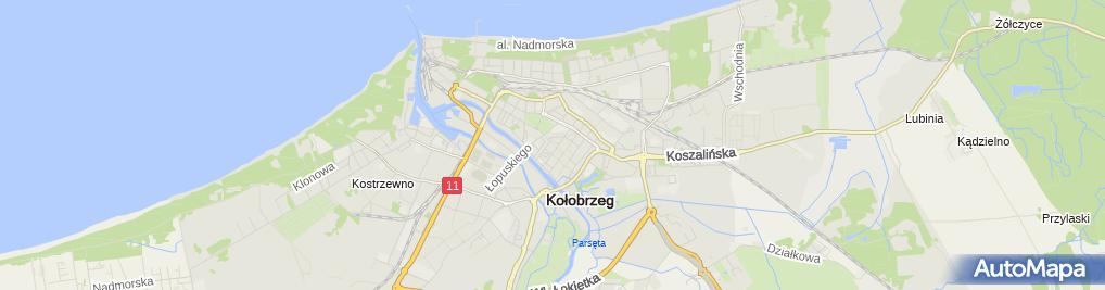 Zdjęcie satelitarne Kołobrzeg - pałac Brunszwickich