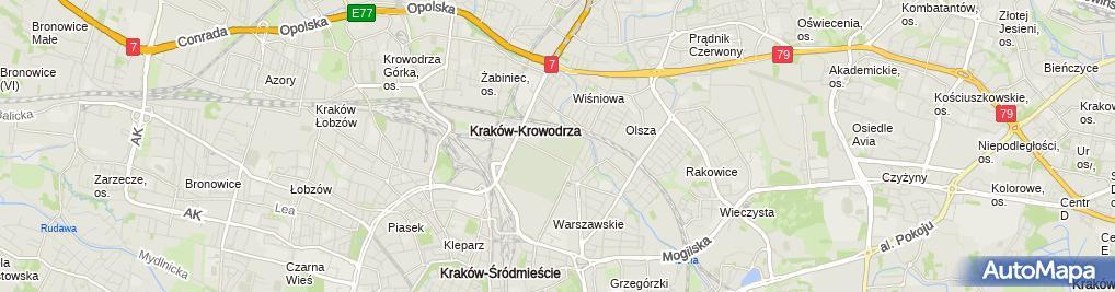 Zdjęcie satelitarne Krakow Military Cemetery, II WW Commonwealth section,tomb,1 Prandoty street,Krakow,Poland