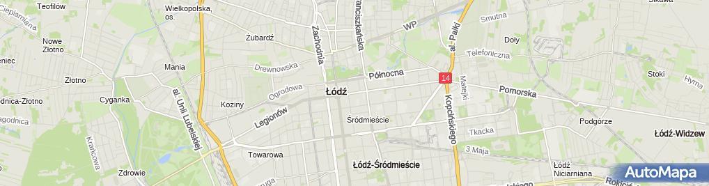 Zdjęcie satelitarne Łodź, Pomorska, tramvaj
