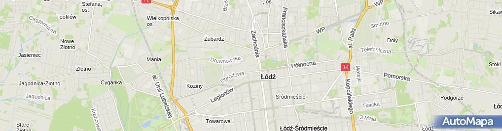 Zdjęcie satelitarne Manufaktura fontanna nocą Łódź