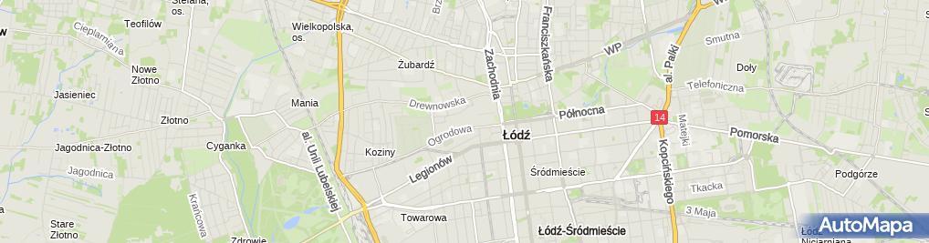 Zdjęcie satelitarne Manufaktura galeria handlowa nocą Łódź