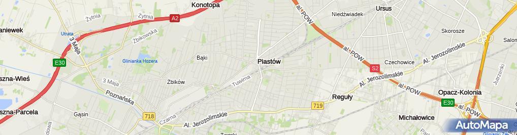 Zdjęcie satelitarne Piastow, z wiaduktu na polnoc