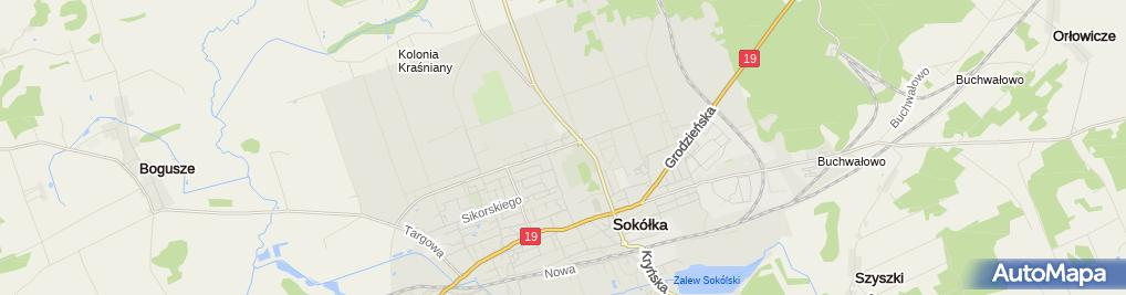 Zdjęcie satelitarne Podlaskie - Sokółka - Sokółka - Wincentego Witosa - GDDKiA - budynek techn