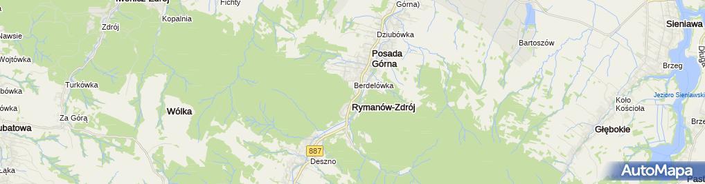Zdjęcie satelitarne Rymanów-Zdrój plan źródła szlaki ścieżki