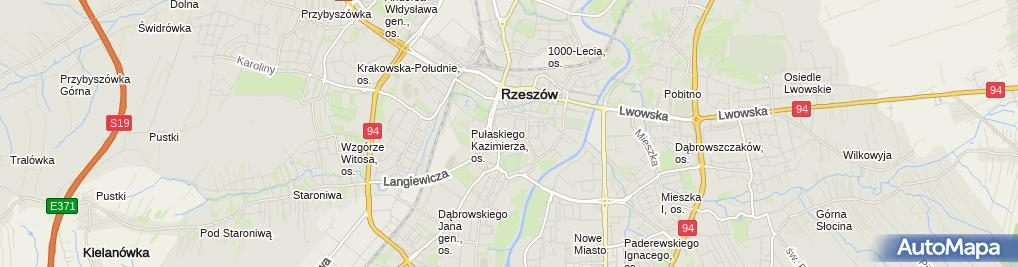 Zdjęcie satelitarne Rzeszów, centrum města, barokní kostel