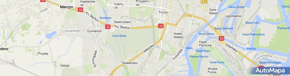 Zdjęcie satelitarne Szczecin Cmentarz Centralny Krzyz Zelazny