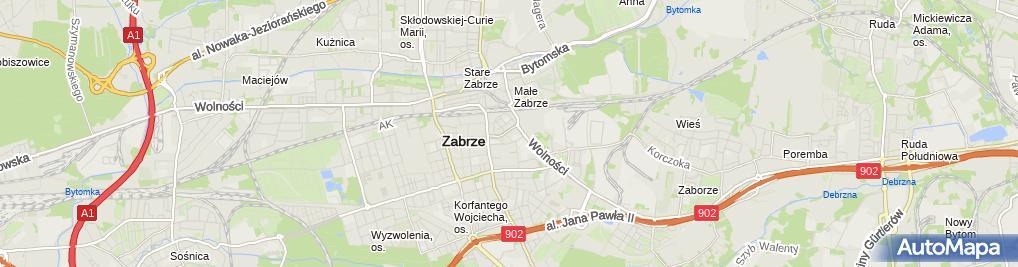 Zdjęcie satelitarne Tablica upamiętniająca Dużą Synagogę w Zabrzu 2