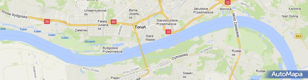 Zdjęcie satelitarne Torun brama Mostowa od str Wisly