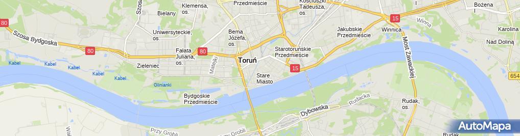 Zdjęcie satelitarne Torun Brama Paulinska od zachodu