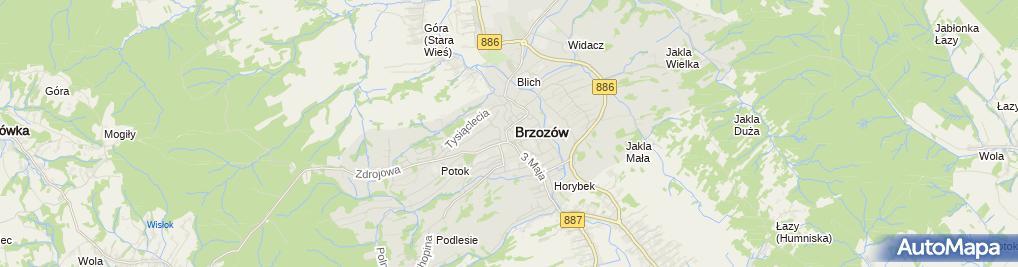 Zdjęcie satelitarne Urzad skarbowy Brzozow
