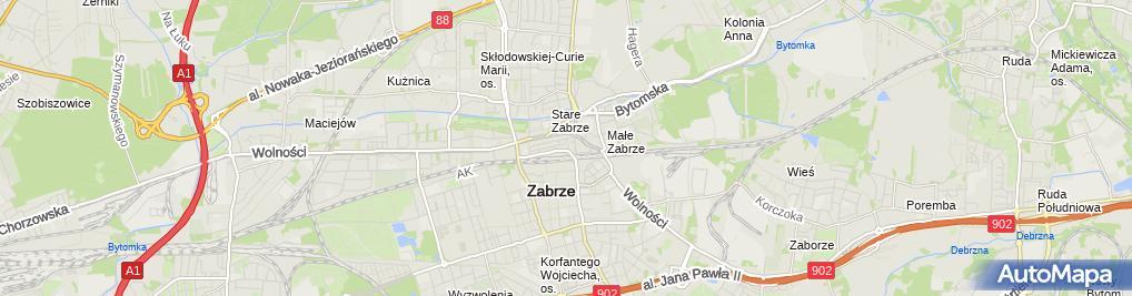 Zdjęcie satelitarne Zabrze - Ul. Goethego 01