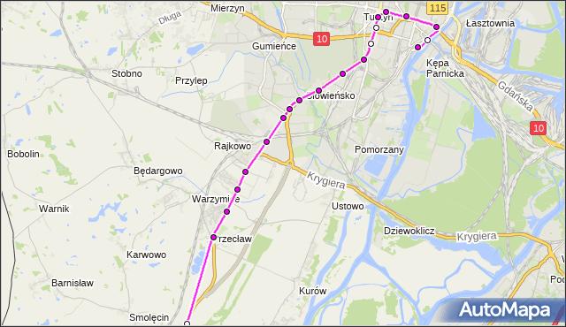 Mapa Polski Targeo, Autobus 81 - trasa Dworzec Główny - Kołbaskowo. ZDiTM Szczecin na mapie Targeo