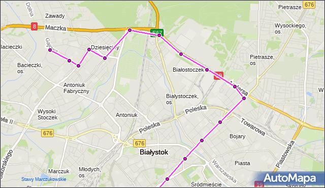 Mapa Polski Targeo, Autobus 16 - trasa - Zajezdnia; dojazd do przystanku:WIEJSKA/KOPERNIKA(526)(nr inw. 526). BKM na mapie Targeo