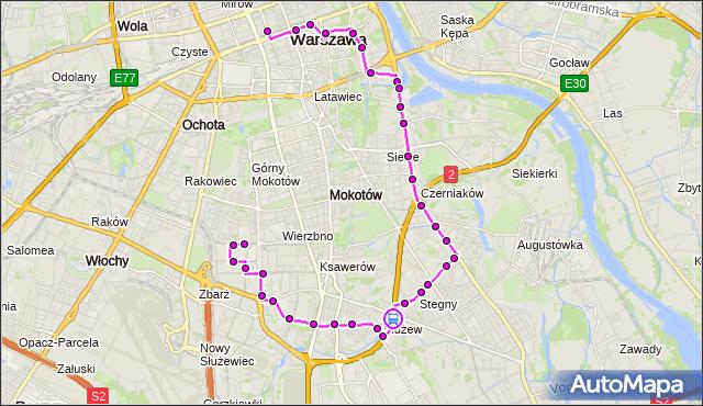 Rozkład jazdy autobusu N33 na przystanku Dolina Służewiecka 01. ZTM Warszawa na mapie Targeo