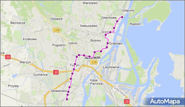 Mapa Polski Targeo, Tramwaj 12 - trasa Pomorzany - Zajezdnia Golęcin. ZDiTM Szczecin na mapie Targeo