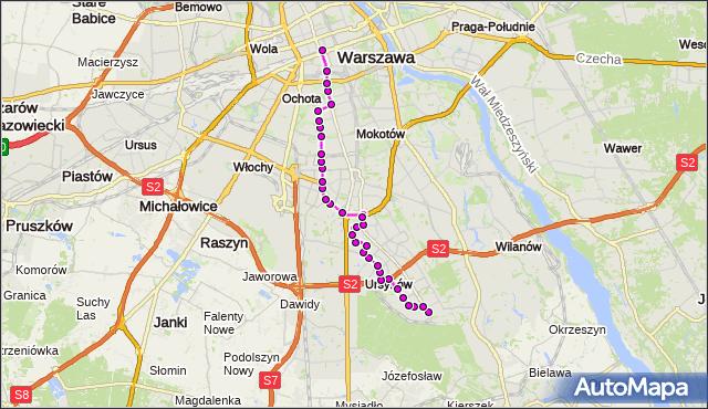 Mapa Polski Targeo, Autobus N34 - trasa OS.KABATY - DW.CENTRALNY. ZTM Warszawa na mapie Targeo