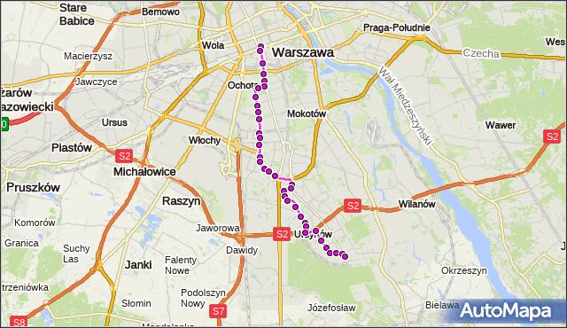 Mapa Polski Targeo, Autobus N34 - trasa DW.CENTRALNY - OS.KABATY. ZTM Warszawa na mapie Targeo