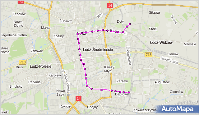 Mapa Polski Targeo, Tramwaj 2 - trasa Dąbrowa - ET-1. MPKLodz na mapie Targeo