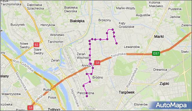 Mapa Polski Targeo, Autobus 204 - trasa OS.DERBY - PKP PRAGA. ZTM Warszawa na mapie Targeo