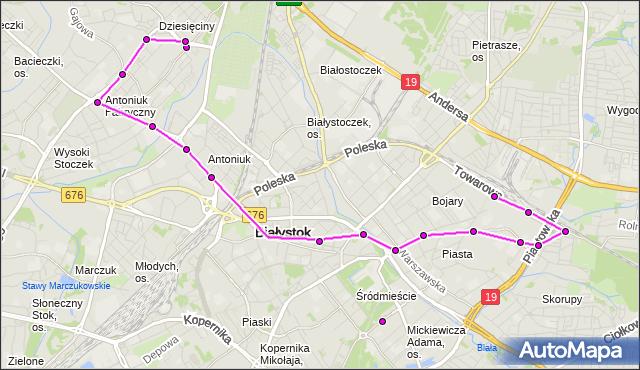 Mapa Polski Targeo, Autobus 5 - trasa - TOWAROWA/PĘTLA(487)(nr inw. 487). BKM na mapie Targeo