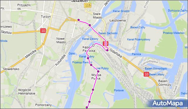 Mapa Polski Targeo, Autobus 52 - trasa Wyspa Pucka - Tkacka. ZDiTM Szczecin na mapie Targeo