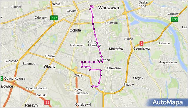 Mapa Polski Targeo, Autobus N36 - trasa DW.CENTRALNY - BOKSERSKA. ZTM Warszawa na mapie Targeo