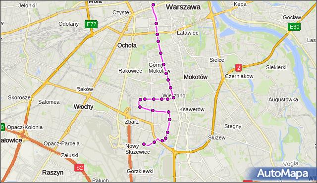 Mapa Polski Targeo, Autobus N36 - trasa BOKSERSKA - DW.CENTRALNY. ZTM Warszawa na mapie Targeo