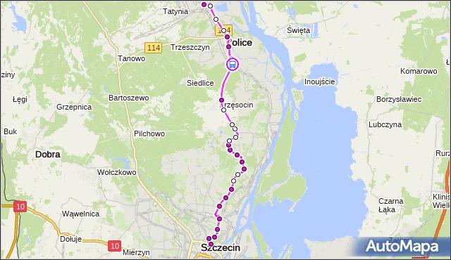 Rozkład jazdy autobusu 101 na przystanku Police Palmowa 12. ZDiTM Szczecin na mapie Targeo
