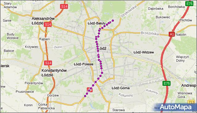 Mapa Polski Targeo, Tramwaj 3 - trasa Wycieczkowa - ET-2. MPKLodz na mapie Targeo