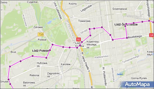 Mapa Polski Targeo, Autobus 80 - trasa Wydawnicza - Maratońska. MPKLodz na mapie Targeo