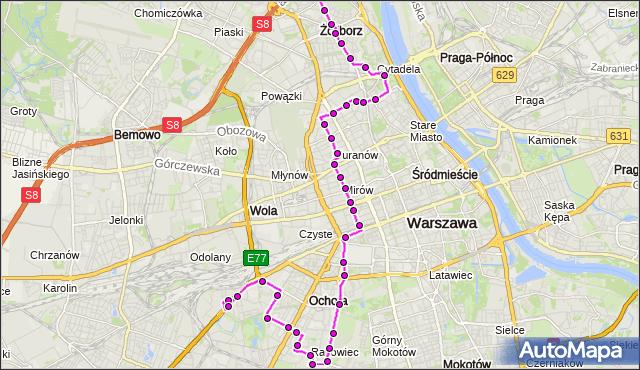 Mapa Polski Targeo, Autobus 157 - trasa CH REDUTA - GWIAŹDZISTA. ZTM Warszawa na mapie Targeo