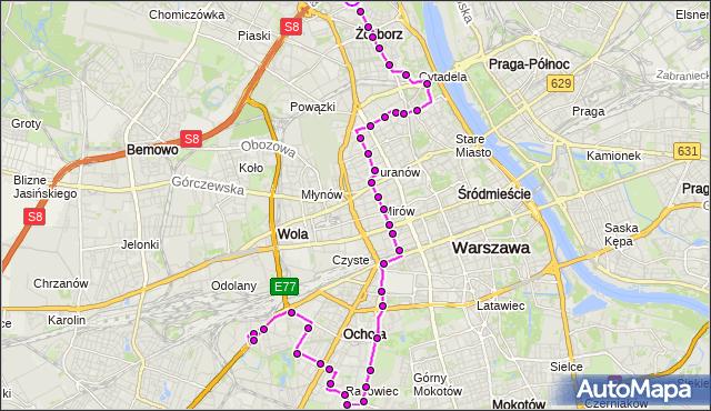 Rozkład jazdy autobusu 157 na przystanku Marymont-Potok 06. ZTM Warszawa na mapie Targeo
