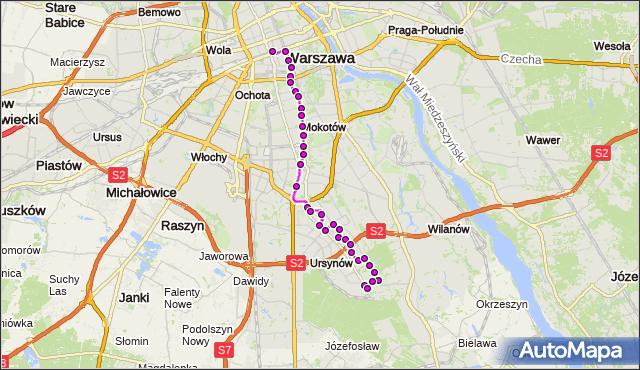 Mapa Polski Targeo, Autobus N37 - trasa DW.CENTRALNY - OS.KABATY. ZTM Warszawa na mapie Targeo