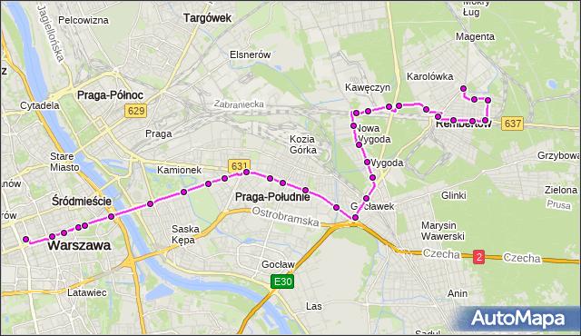 Mapa Polski Targeo, Autobus N24 - trasa DW.CENTRALNY - REMBERTÓW-AON. ZTM Warszawa na mapie Targeo