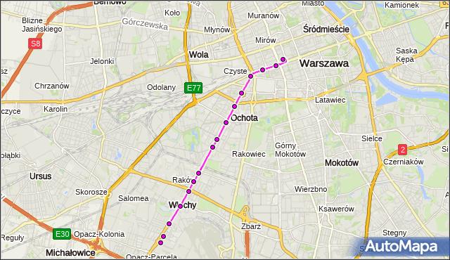 Mapa Polski Targeo, Autobus N38 - trasa DW.CENTRALNY - OKĘCIE. ZTM Warszawa na mapie Targeo