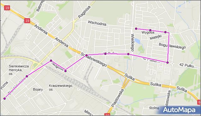Mapa Polski Targeo, Autobus 18 - trasa - Zajezdnia; dojazd do przystanku:OGRODOWA(421)(nr inw. 421). BKM na mapie Targeo