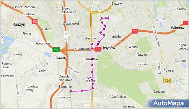 Mapa Polski Targeo, Autobus 209 - trasa PKP JEZIORKI - URSYNÓW PŁN.. ZTM Warszawa na mapie Targeo
