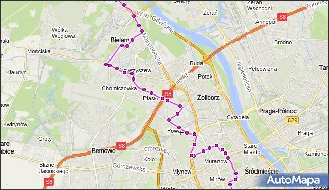 Mapa Polski Targeo, Autobus N41 - trasa DW.CENTRALNY - MŁOCINY-UKSW. ZTM Warszawa na mapie Targeo