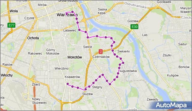 Mapa Polski Targeo, Autobus 108 - trasa METRO WILANOWSKA - PL.TRZECH KRZYŻY. ZTM Warszawa na mapie Targeo