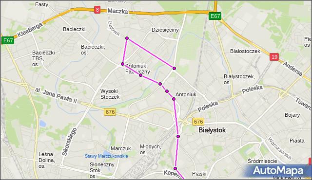 Mapa Polski Targeo, Autobus 19 - trasa - GAJOWA/PALMOWA(125)(nr inw. 125). BKM na mapie Targeo