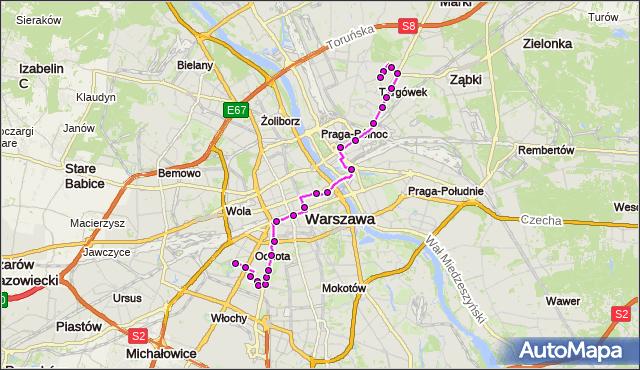 Mapa Polski Targeo, Autobus 512 - trasa SZCZĘŚLIWICE - ZACISZE. ZTM Warszawa na mapie Targeo