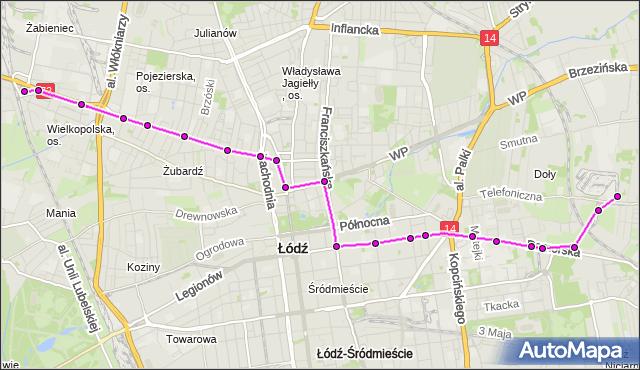 Rozkład jazdy tramwaju 5 na przystanku Franciszkańska - Północna. MPKLodz na mapie Targeo