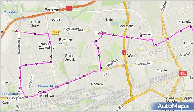 Mapa Polski Targeo, Autobus N42 - trasa OS.GÓRCZEWSKA - DW.CENTRALNY. ZTM Warszawa na mapie Targeo