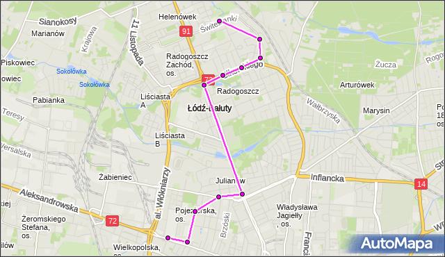 Mapa Polski Targeo, Autobus 59 - trasa Świtezianki - zajezdnia LIMANOWSKIEGO. MPKLodz na mapie Targeo