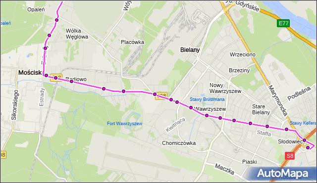 Mapa Polski Targeo, Autobus 110 - trasa METRO MARYMONT - CM.PÓŁNOCNY-BRAMA ZACH.. ZTM Warszawa na mapie Targeo