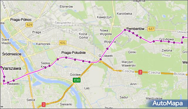 Mapa Polski Targeo, Autobus 514 - trasa DW.CENTRALNY - WOLA GRZYBOWSKA. ZTM Warszawa na mapie Targeo